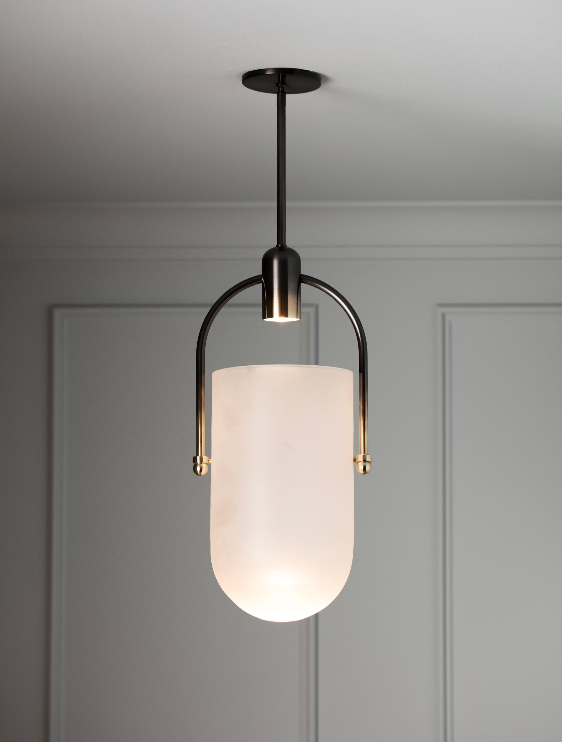 "Arc Well Pendant 14"" shown in Gradient, Frosted Glass"