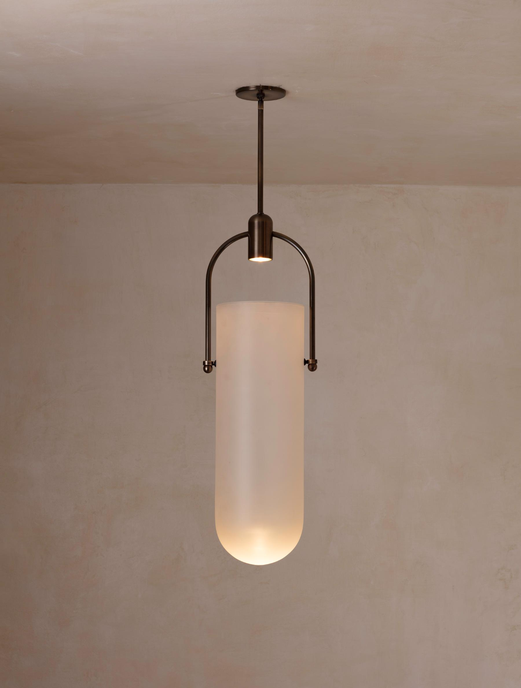 "Arc Well Pendant 23"" shown in Bronze, Frosted Glass"