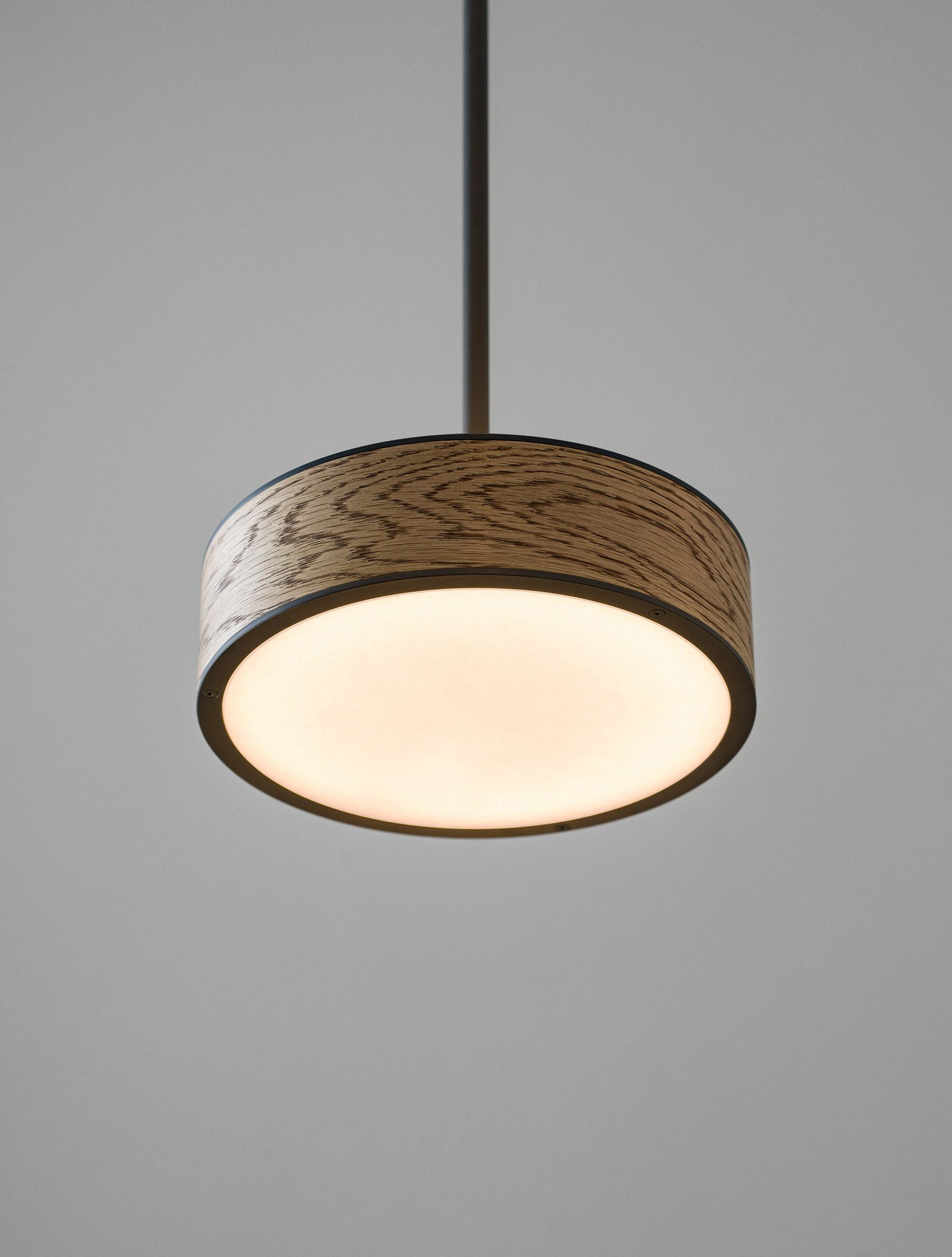 "Monoscope Pendant 10"" shown in Maker Black, American Ash"