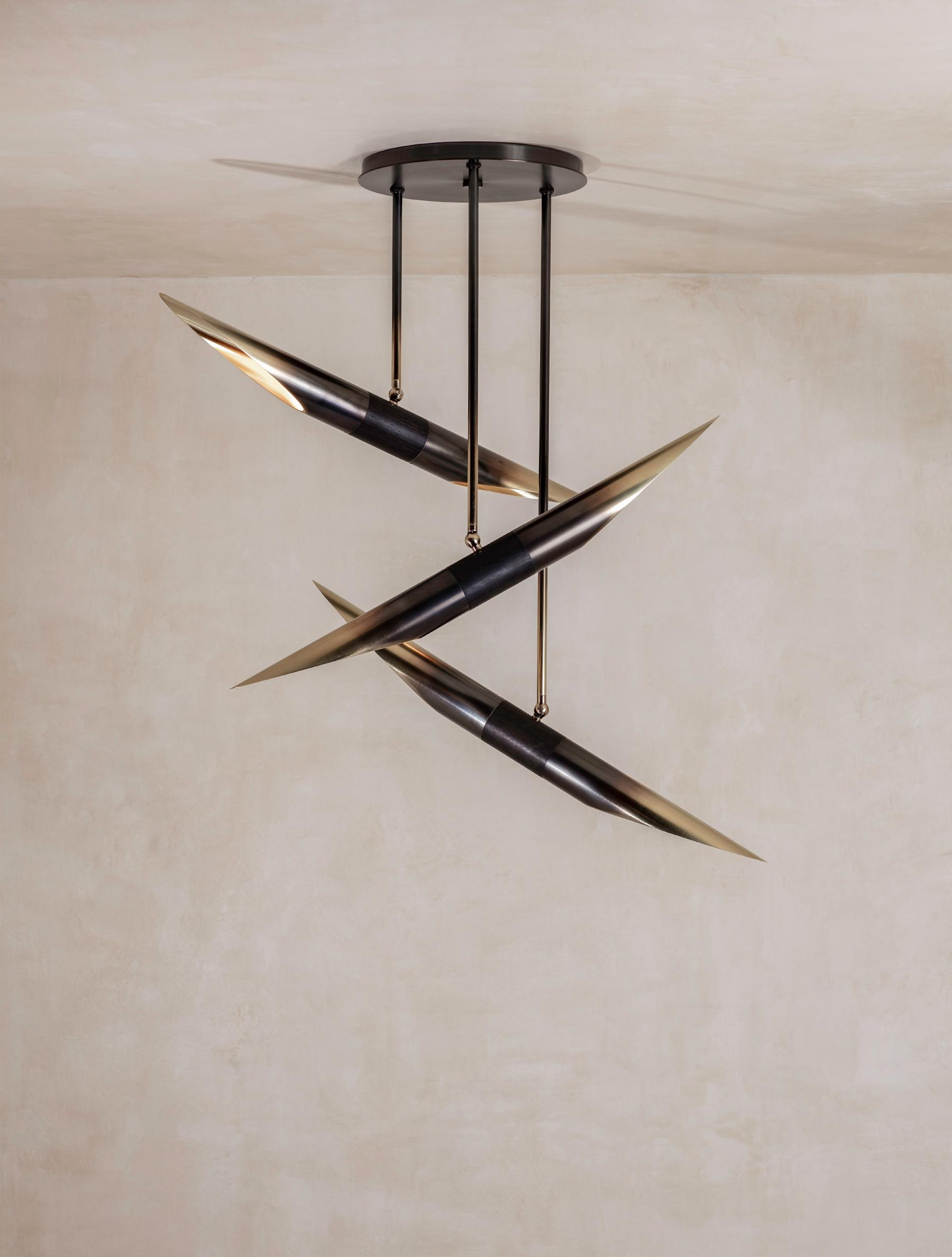 Voyager 333 Chandelier shown in Gradient, Oxidized Oak