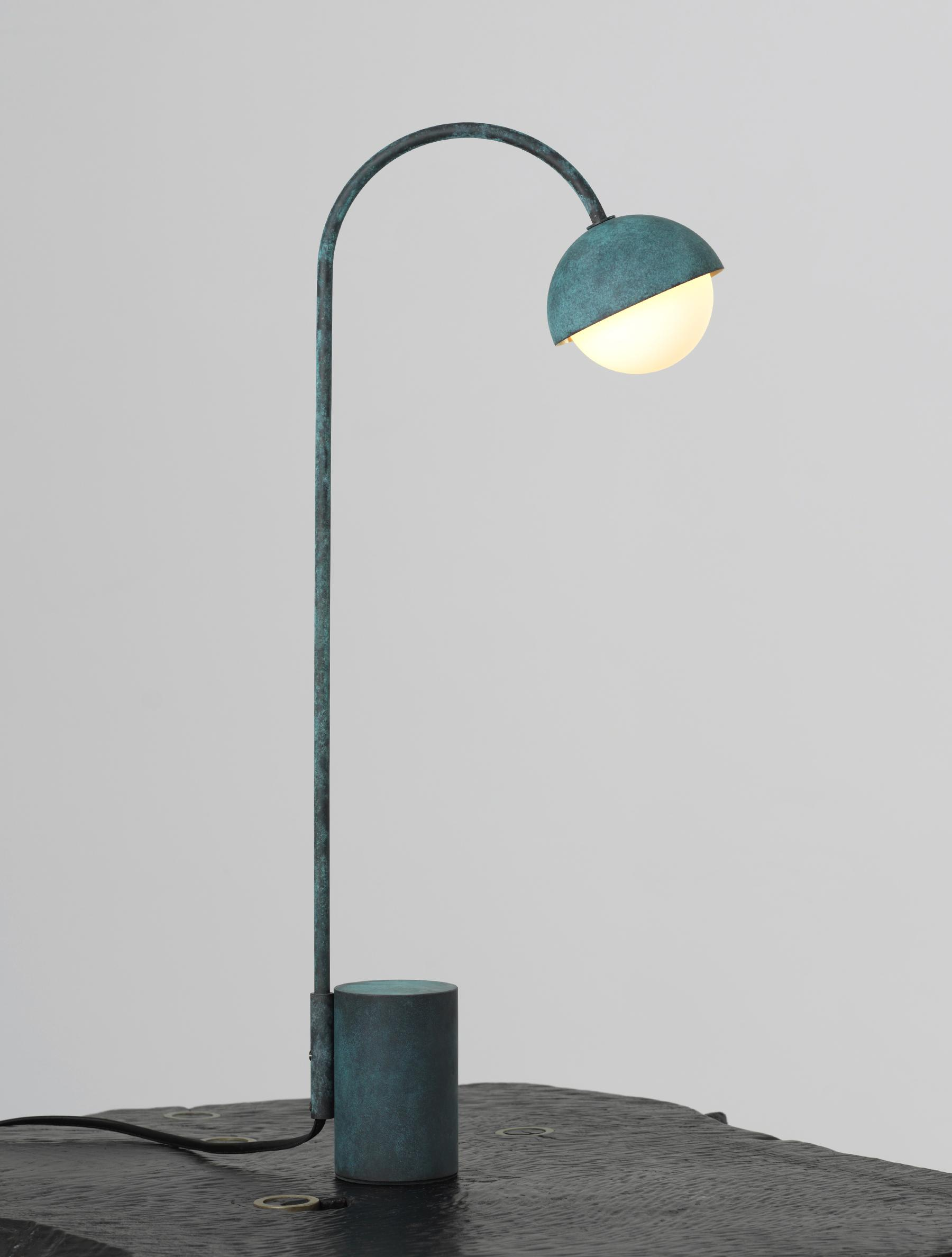 Contour Table Lamp shown in Verdigris, and Matte White Globe