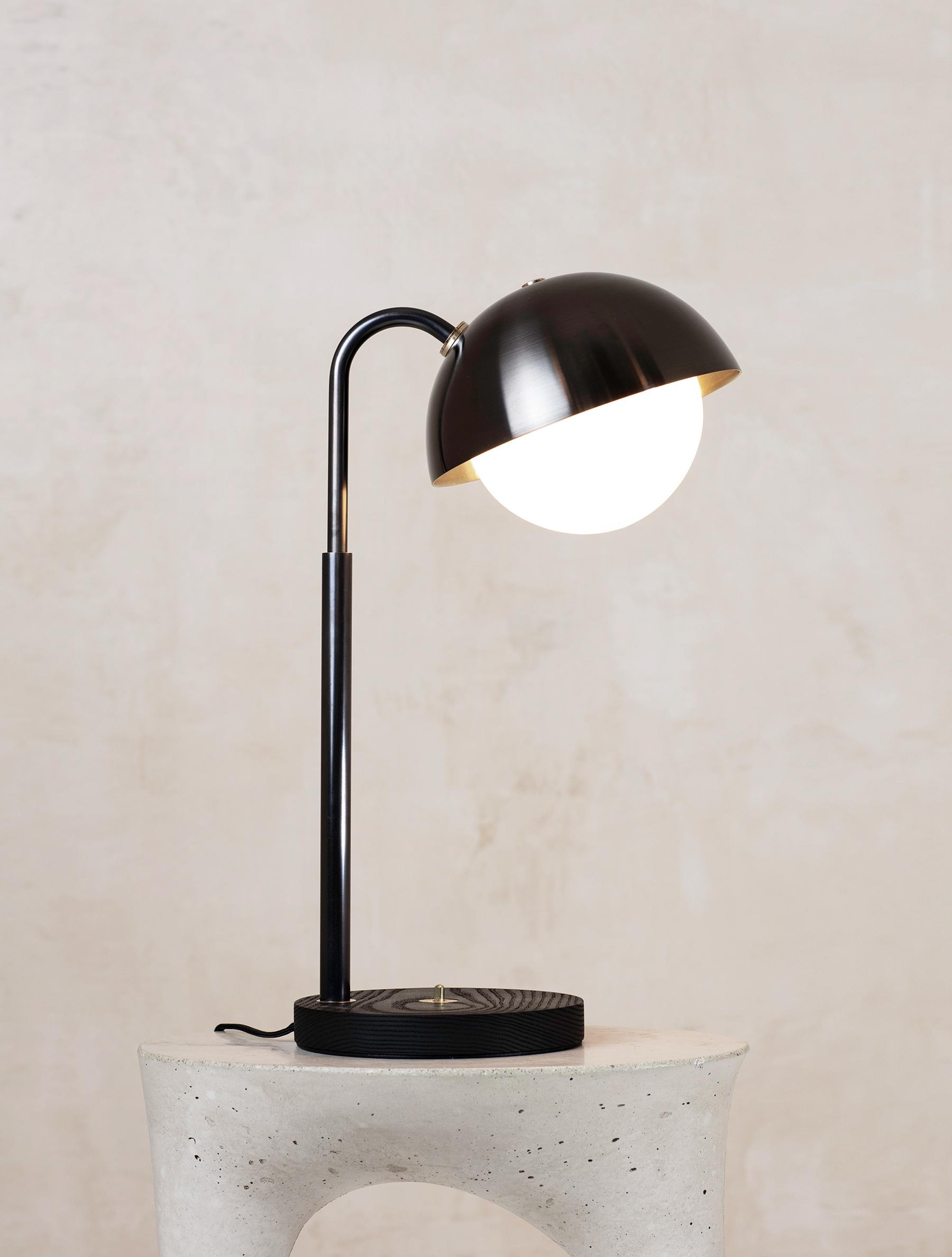 Dome Table Lamp shown in Blackened Brass, Blackened Ash, Opal Globe