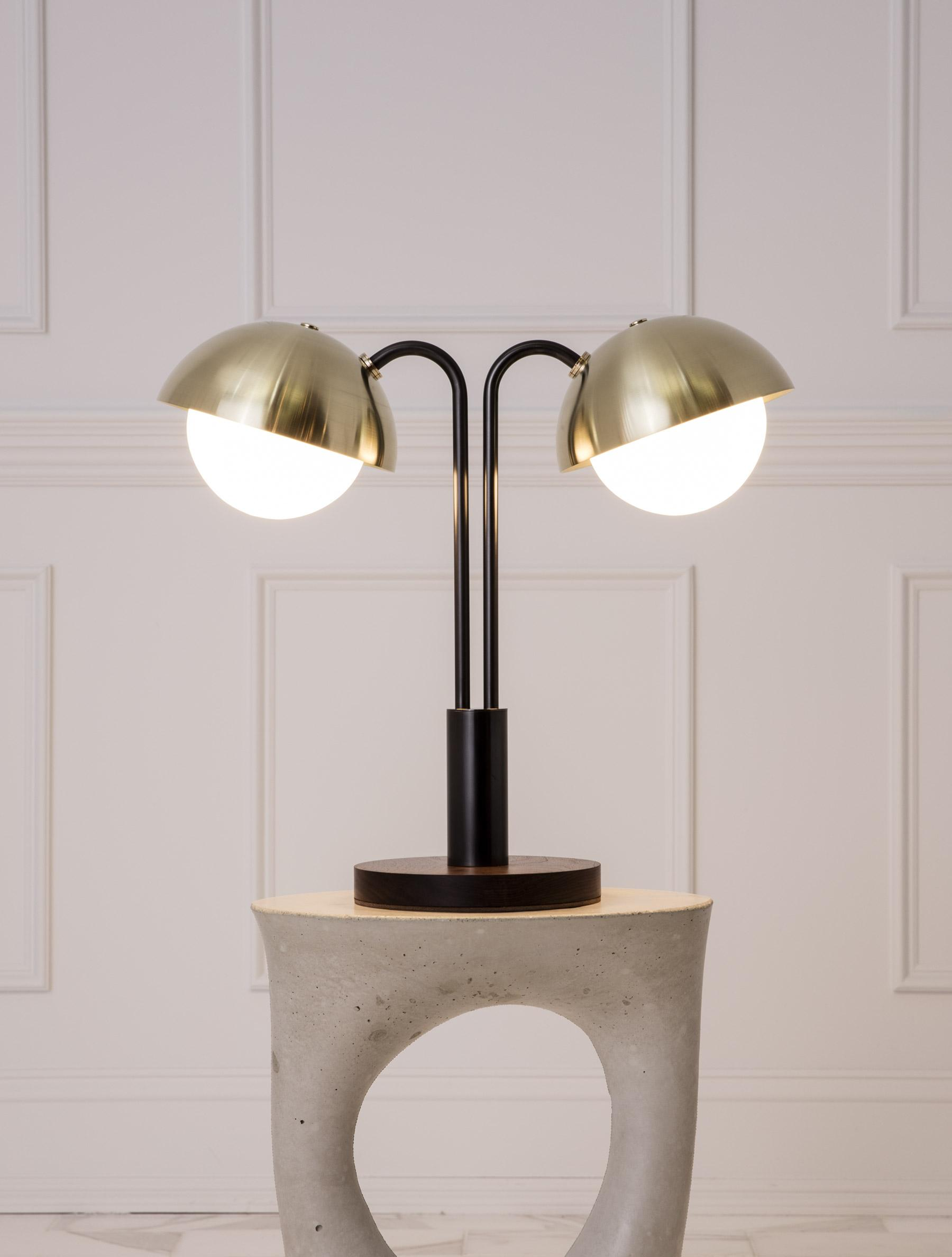 Double Dome Table Lamp shown in Blackened Brass, Brass Domes, Black Walnut Base, Opal Globe