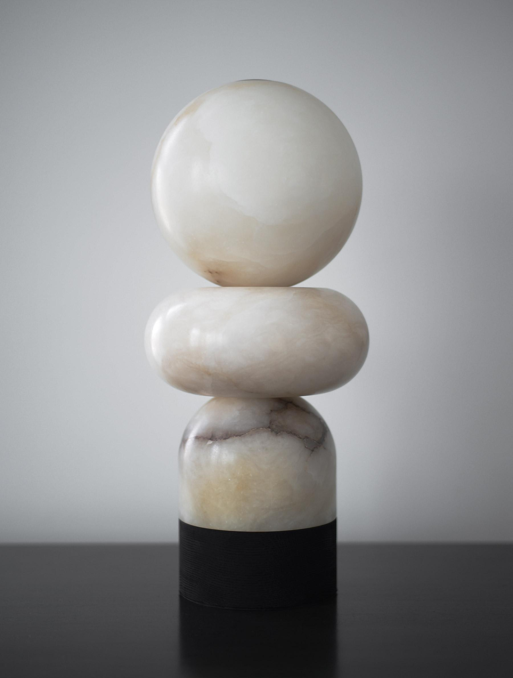 Alabaster Totem 3 Table Lamp shown in Blackened Ash, and Alabaster
