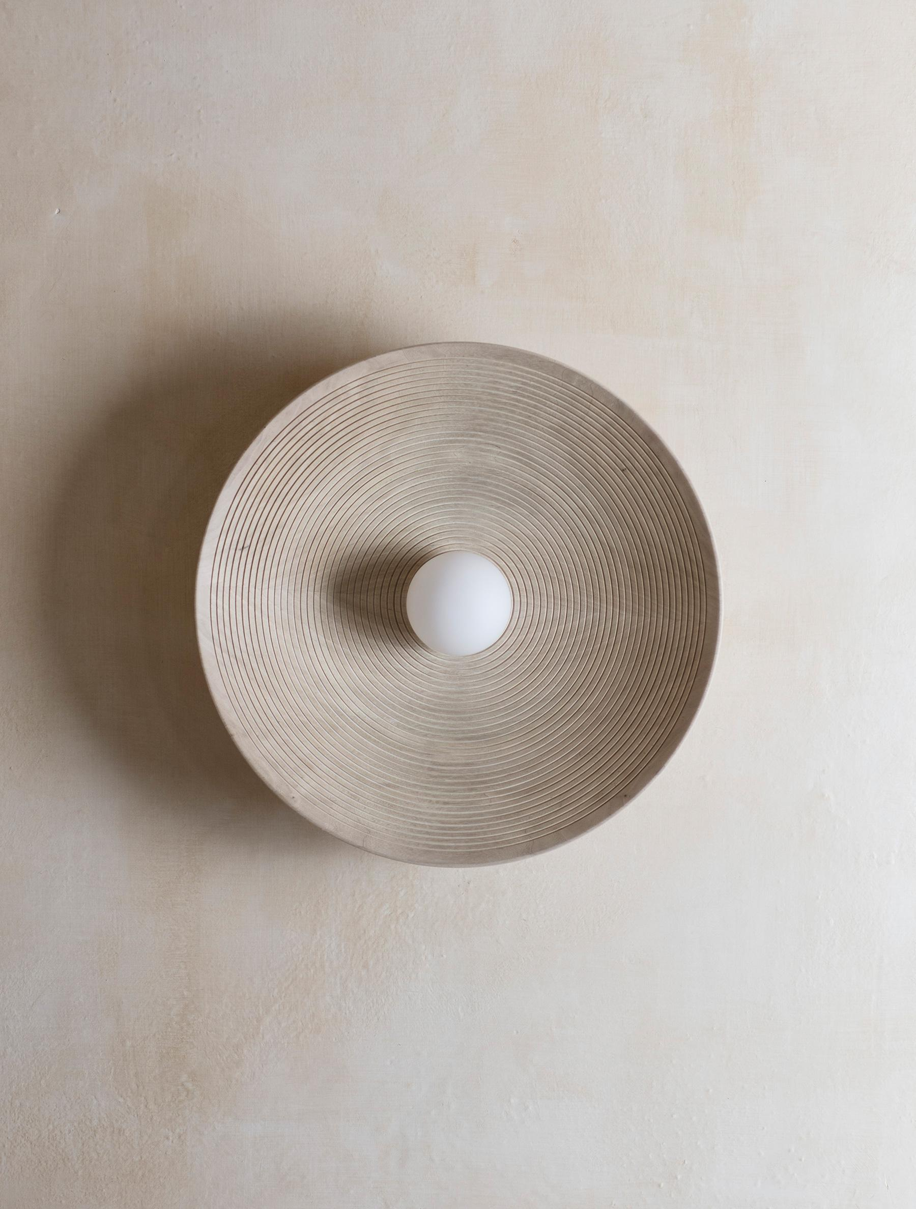 "Concentric 15"" shown in Bleached Walnut, Matte White Globe"