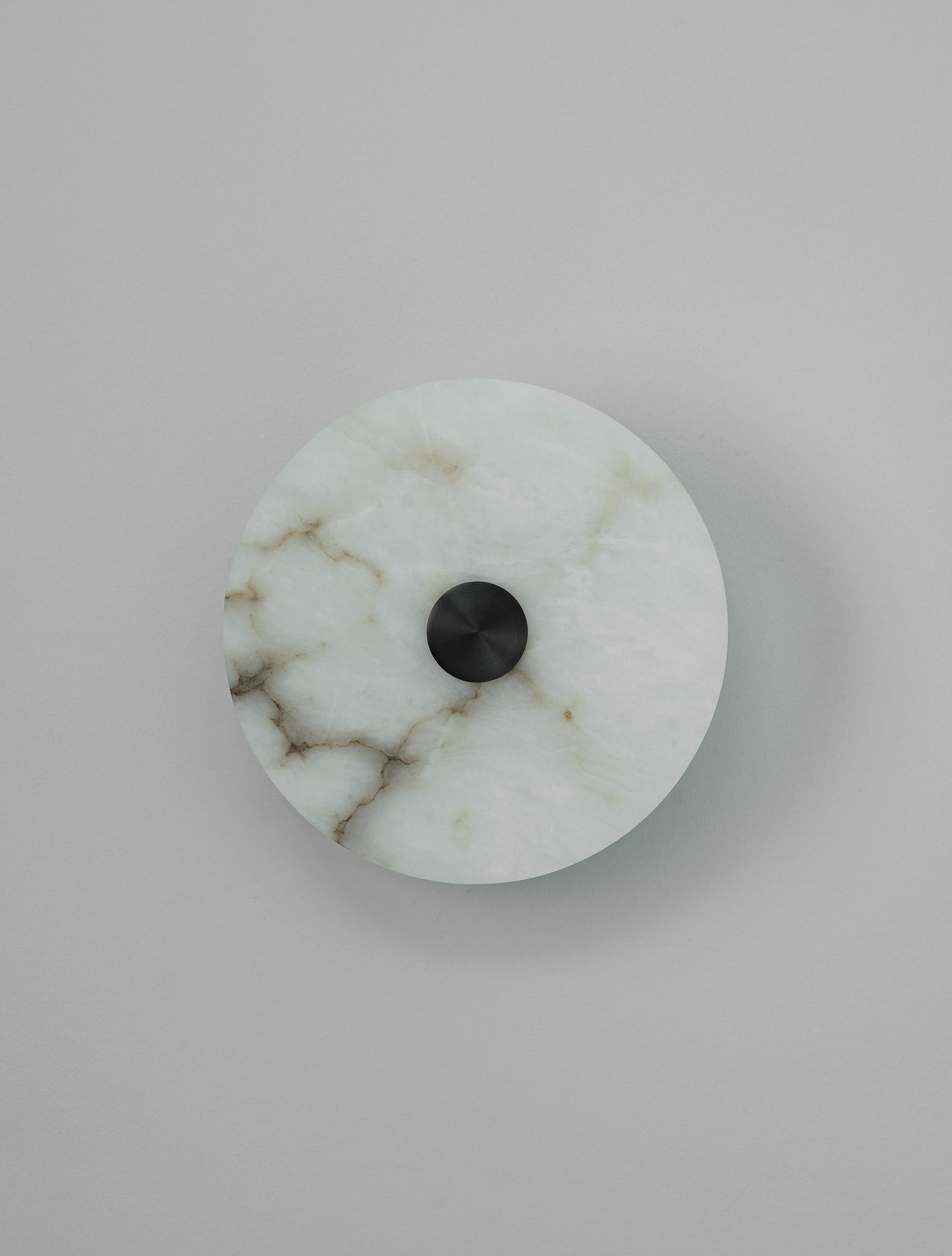 "Alabaster Eclipse 10"" shown in Blackened Brass, Alabaster"