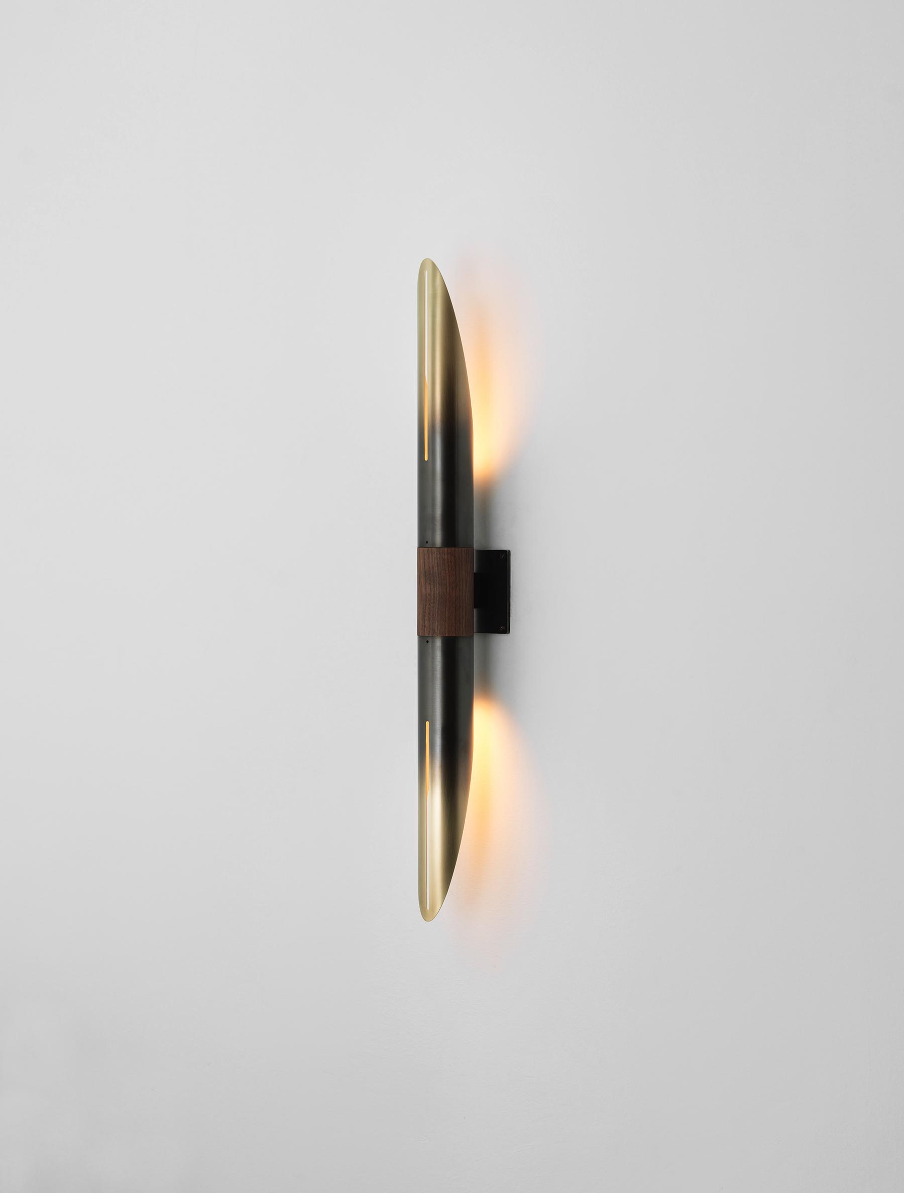 "Voyager 33"" Sconce shown in Gradient, Black Walnut"