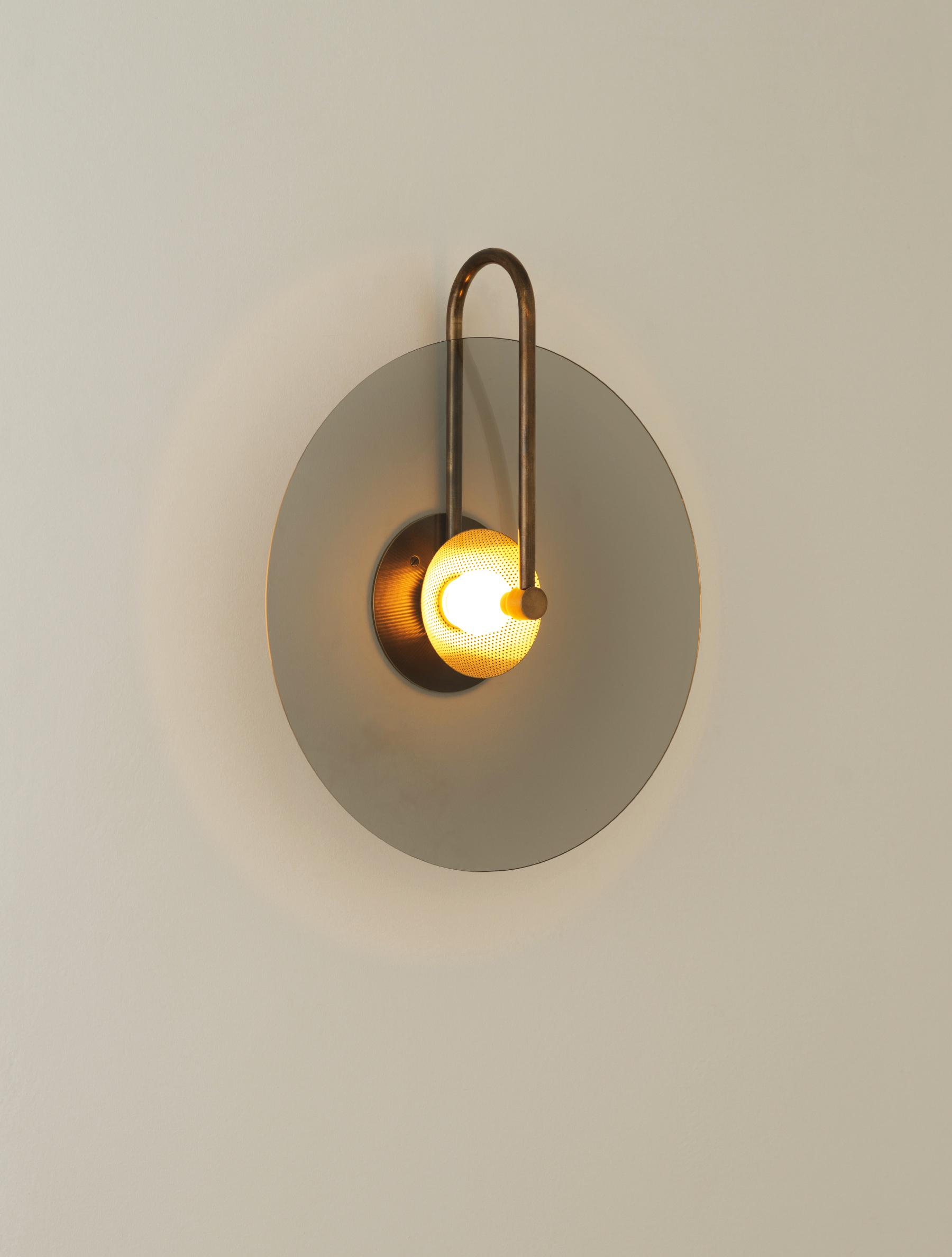 "ADA Aperture Sconce 16"" shown in Bronze, Smoked Glass"